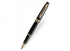 Waterman-Expert-Black-Lacquer-Gold-Trim-Fountain-Pen-Picture